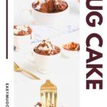 Three pictures of a chocolate mug cake