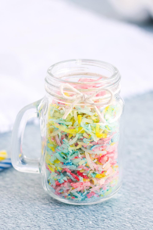 jar of shredded coconut for confetti sprinkles