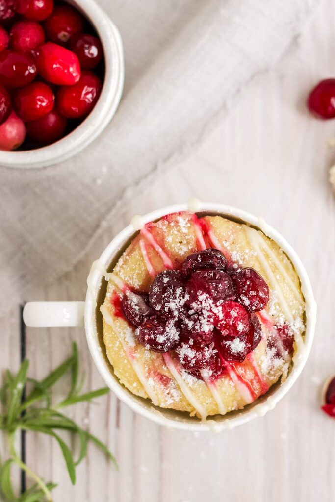 overhead shot of keto cranberry mug cake