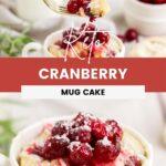 cranberry mug cake and a forkful of cake