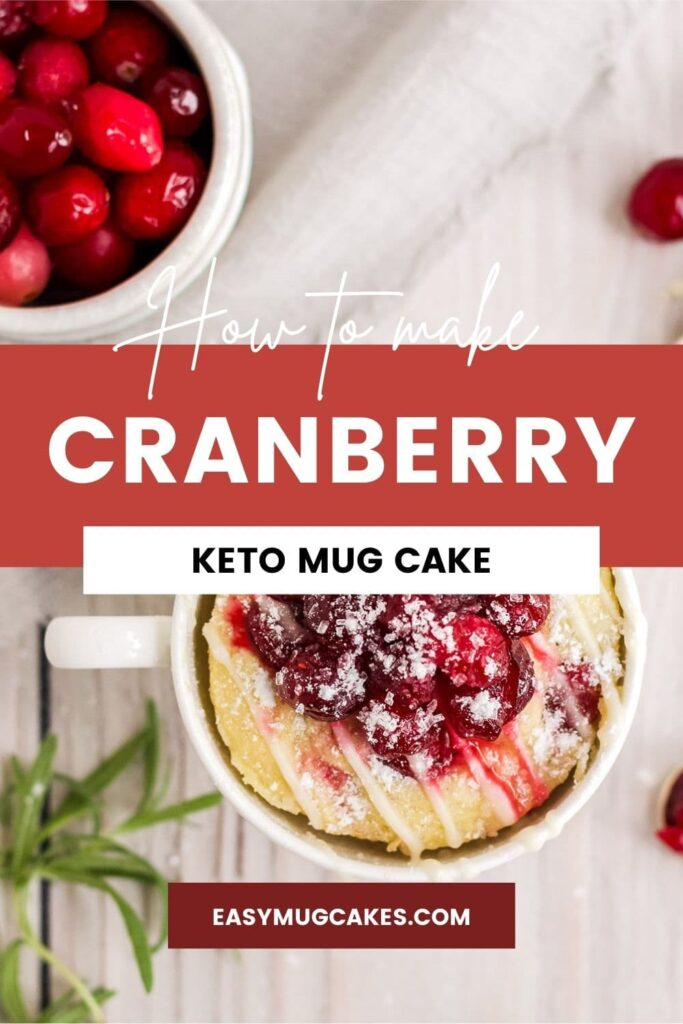 Cranberry mug cake and bowl of cranberries