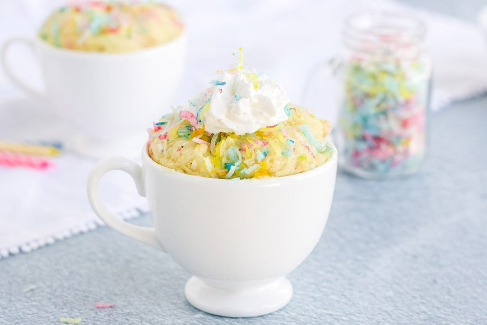 keto funfetti mug cake with whipped cream