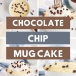 4 pictures of chocolate chip mug cake by blue napkins, milk, and chocolate chips