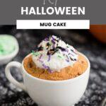 Pumpkin mug cake with Halloween colored coconut shreds on top