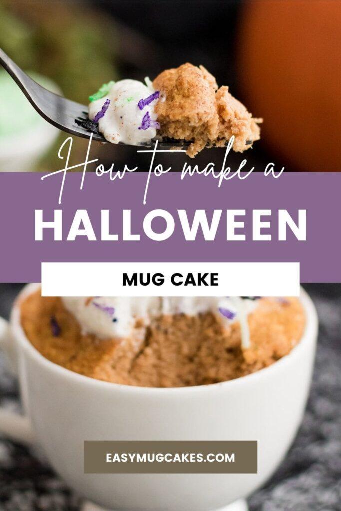 fork full of halloween mug cake with whipped cream above the mug