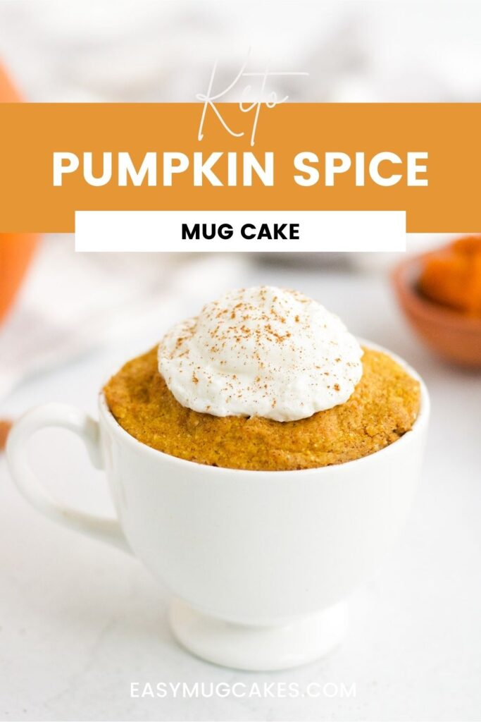 keto pumpkin spice cake in a mug with whipped cream