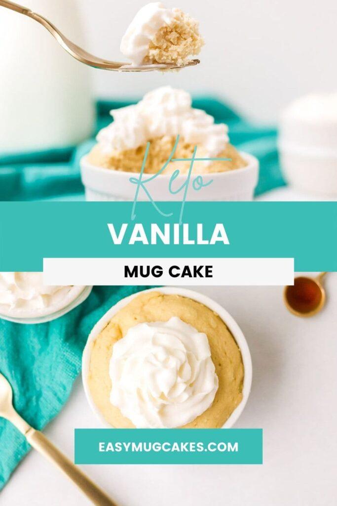 forkful of vanilla mug cake and overhead shot of mug cake