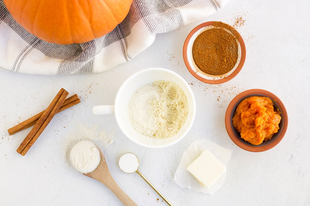 overhead shot of pumpkin mug cake ingredients