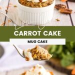 Carrot cake on a table with pecans and carrots