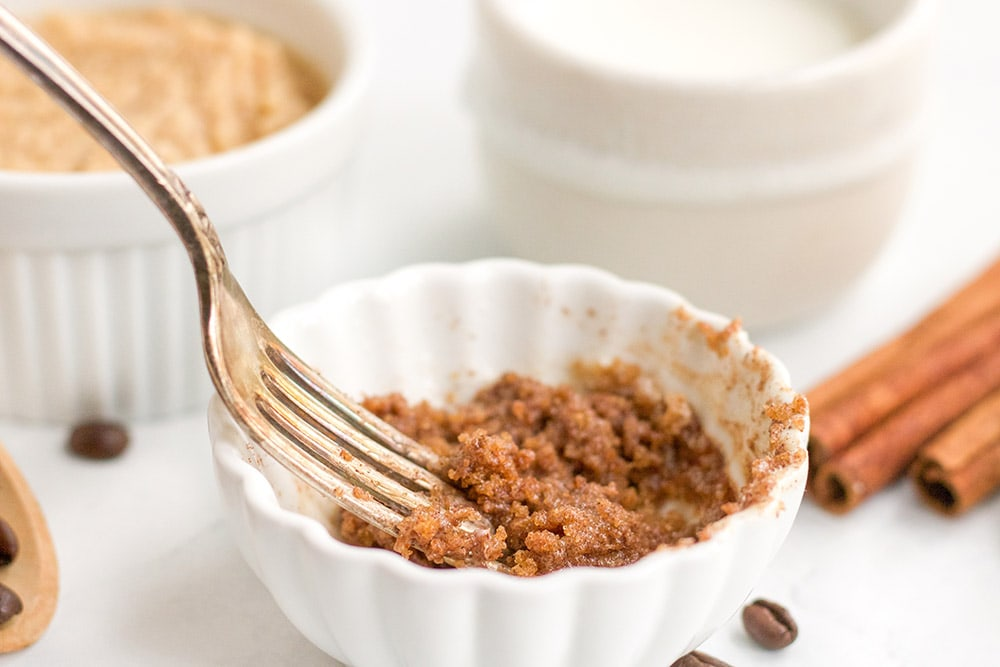 Crumbled brown sugar topping for coffee mug cake
