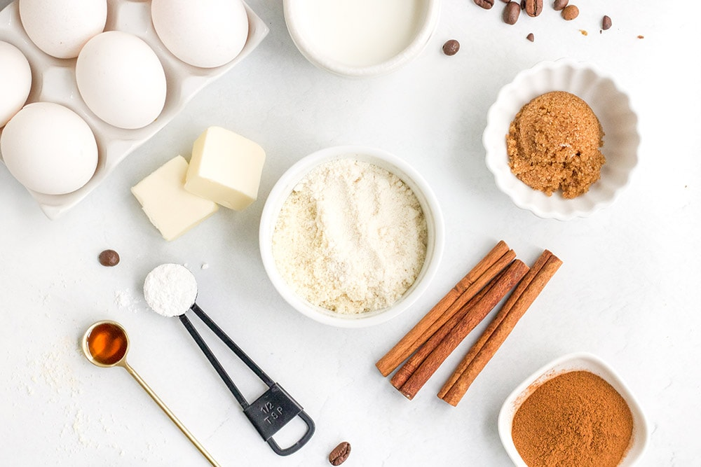 Overhead shot of ingredients for coffee mug cake
