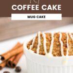 Ramekin of coffee cake by coffee beans and cinnamon