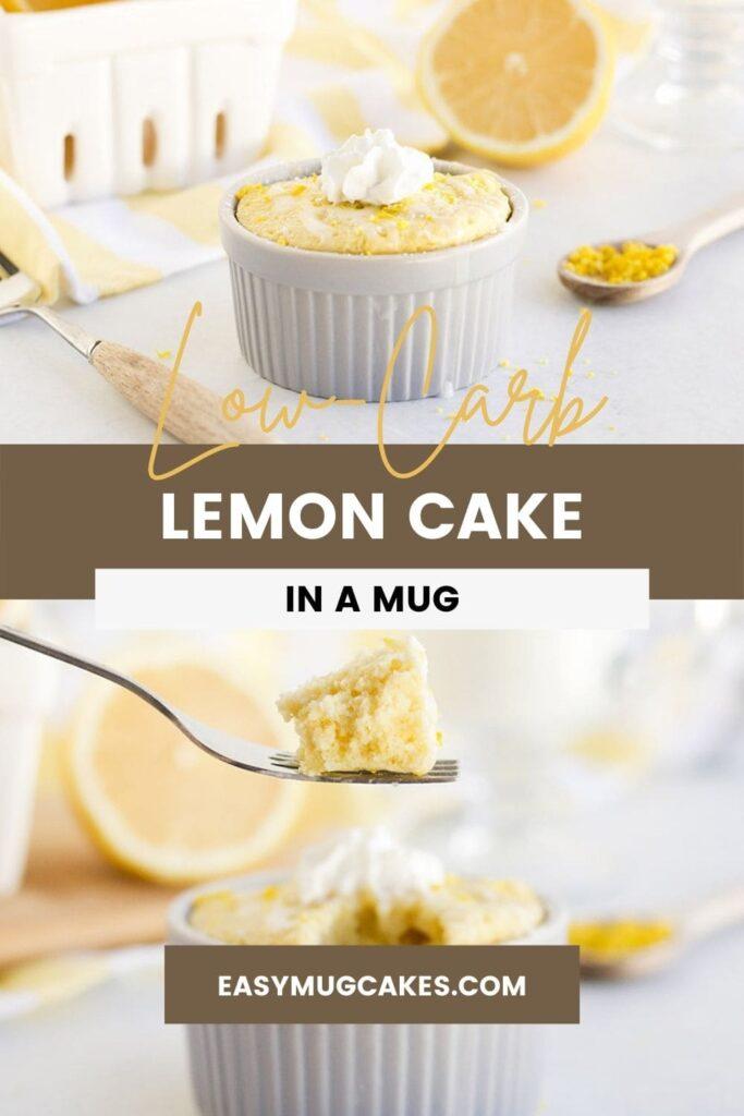 Lemon mug cake in a ramekin and a fork full of the cake.