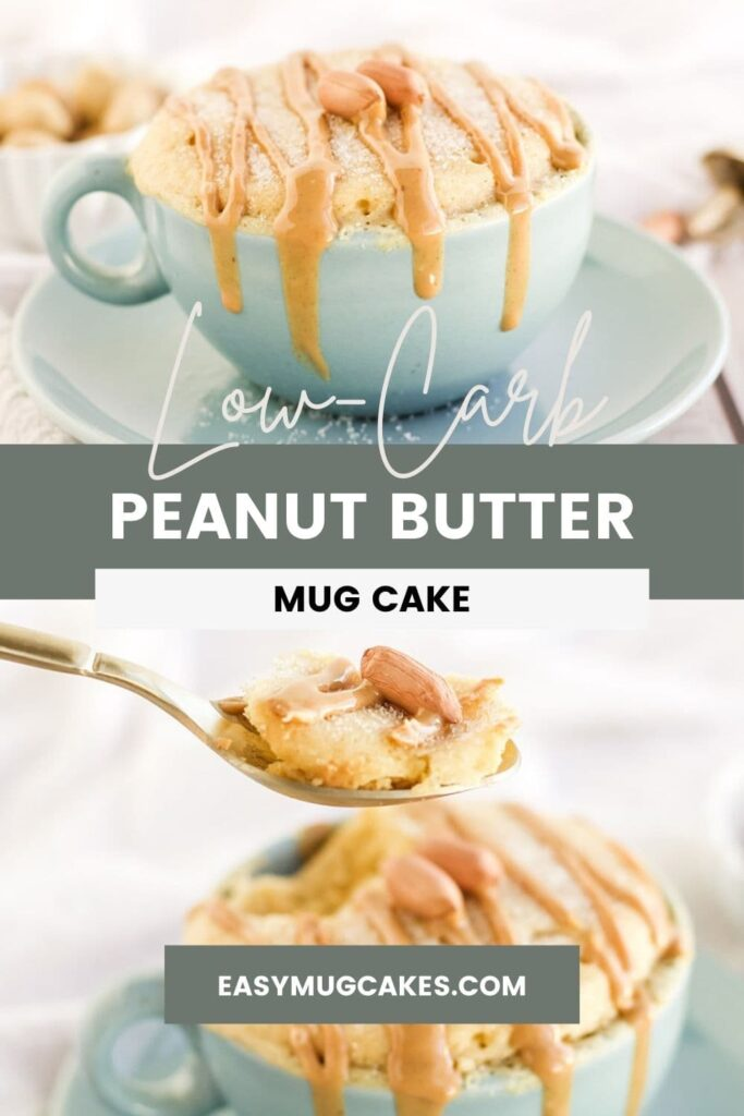 Peanut butter cake in a light blue mug and a spoonful of the cake.