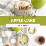 Fork with apple cake on it and ingredients to make an apple mug cake.