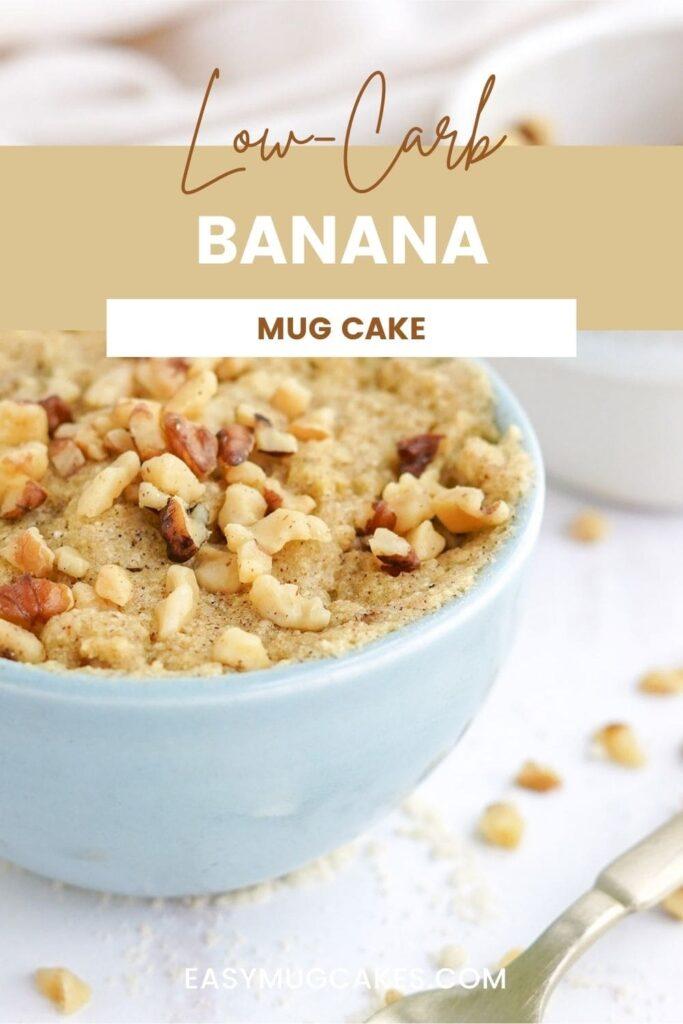 Banana nut mug cake in a light blue mug.