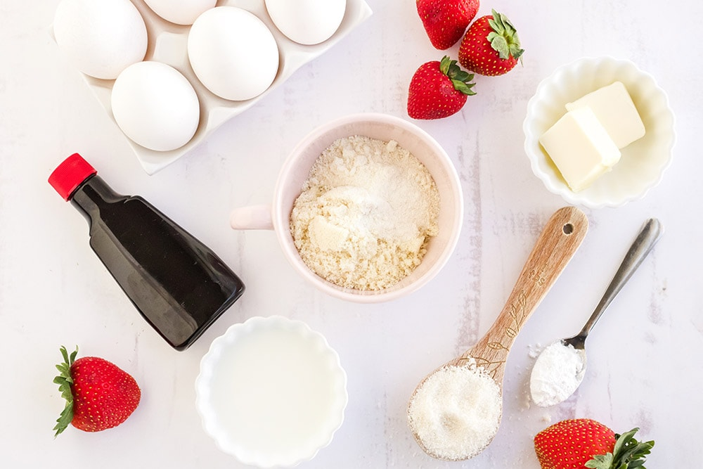 Ingredients to make strawberry mug cake.