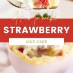 Fork full of strawberry cake above a pink mug of cake.
